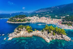 Parga and Panagia Island aerial view. Important tourist destination on the east coast of Greece.